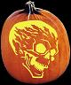 SPOOKMASTER FLAME ON SKULL PUMPKIN CARVING PATTERN