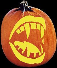 Spookmaster vampire fangs pumpkin carving pattern jack for Vampire teeth pumpkin stencils