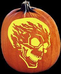 Spookmaster Flame On Skull Alien Pumpkin Carving Pattern Jack