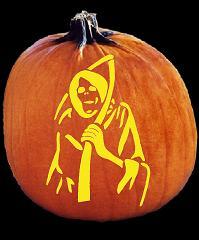 pumpkin template grim reaper  SpookMaster Grim Reaper Pumpkin Carving Pattern - Jack O Lantern